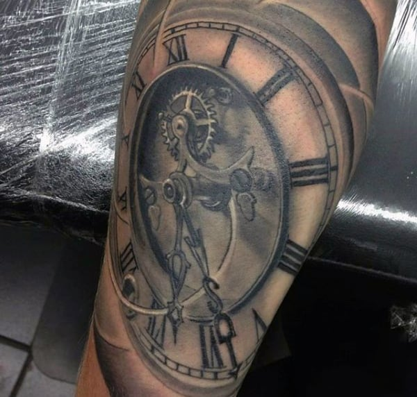 Dusty Grey Pocket Watch Tattoo On Calves For Men