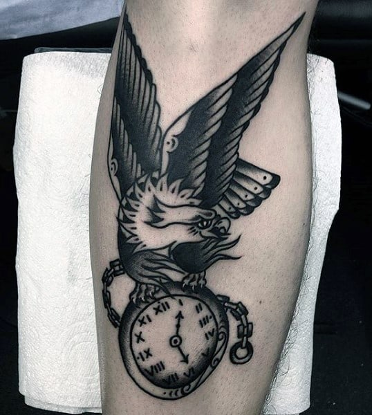 Eagle On Pocket Watch Tattoo On Calves For Men