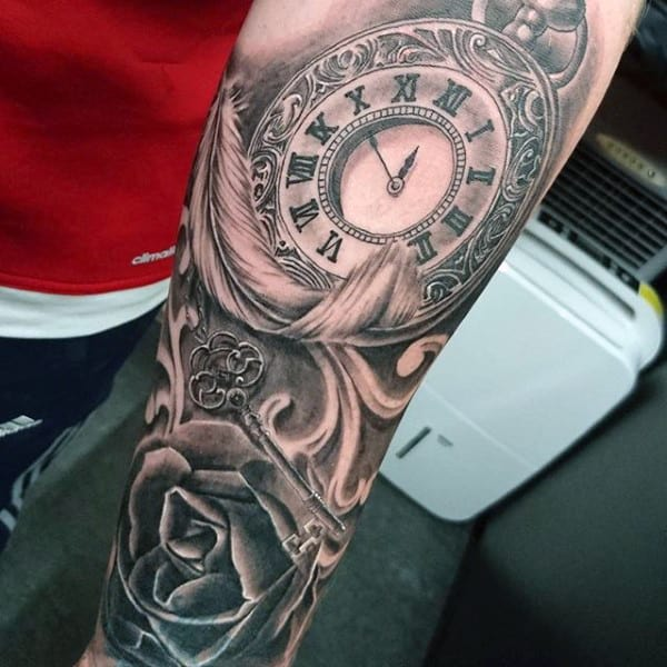 Fabulous Pocket Watch And Rose Tattoos With Feather On Forearms For Men