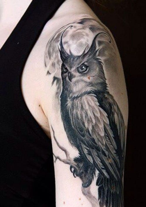 Full Moon and Owl Arm Tattoo