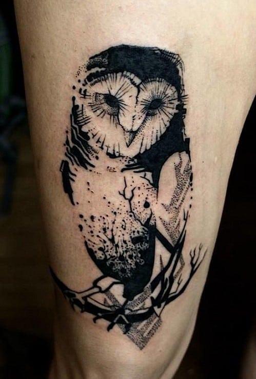 Geometric Owl on Branch Tattoo