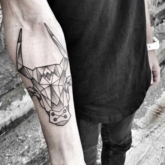 geometric bull tattoo