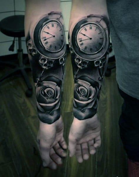 Gorgeous Pocket Watch With Rose Blossom Tattoo Forearms Guys