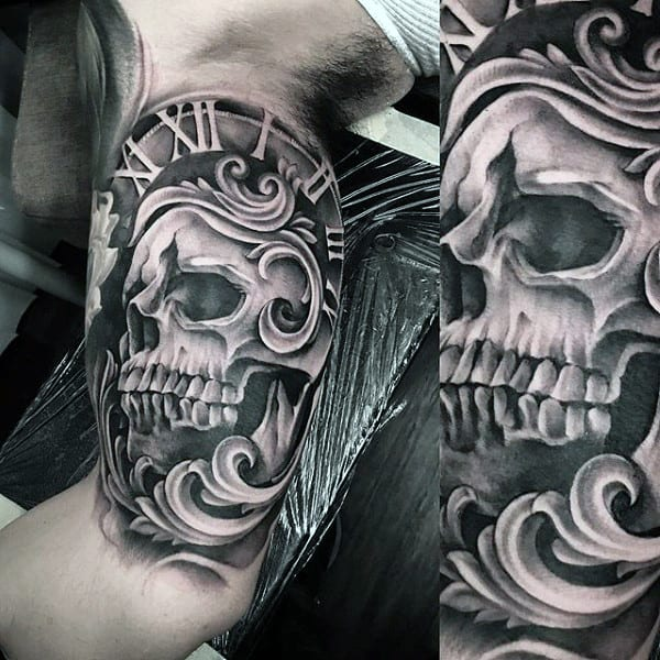 skull and watch tattoo
