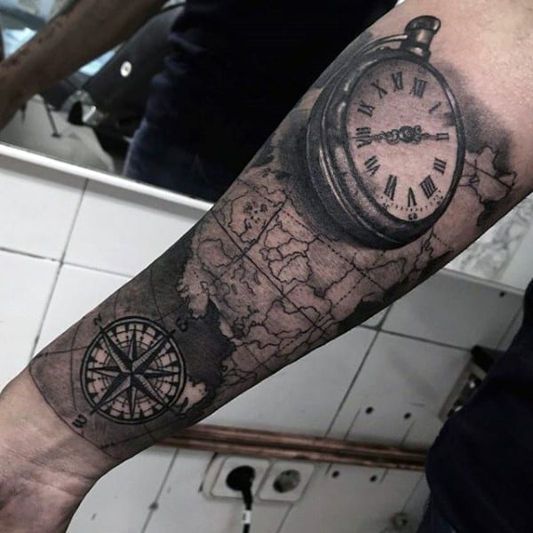 Guy With Compass And Pocket Watch Tattoo On Forearms