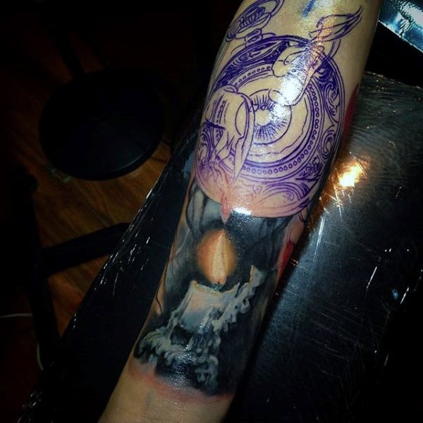 Guys Forearm Purple Pocket Watch With Candle Flame Tattoo