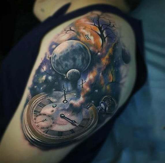 Guys Shoulder Galactic Pocket Watch Tattoo