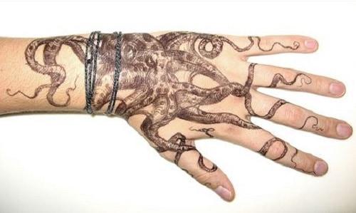octopus tattoo on hand