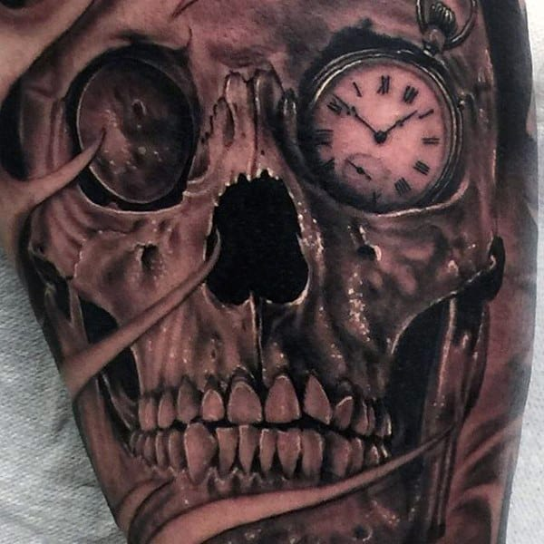 Males Pocket Watch Eyed Skull Tattoo On Legs