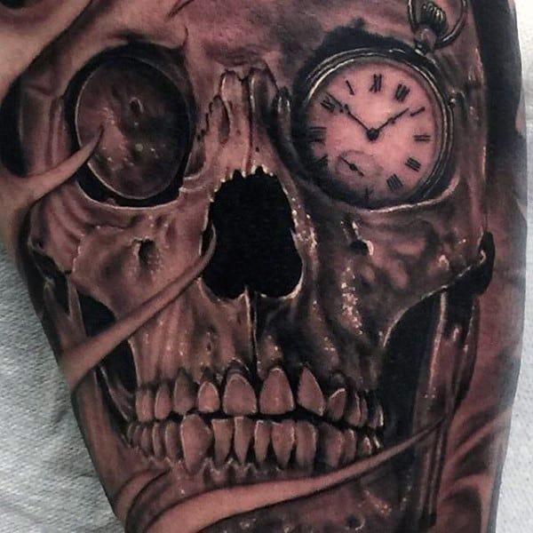 Males Pocket Watch Eyed Skull Tattoo On Legs
