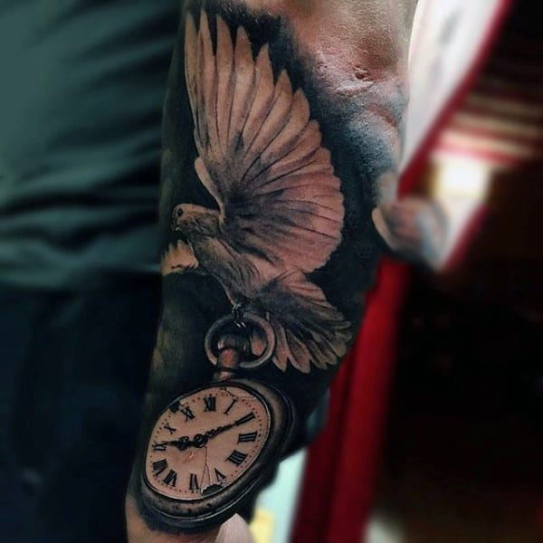 Man With Flappy Bird On Pocket Watch Tattoo Forearms