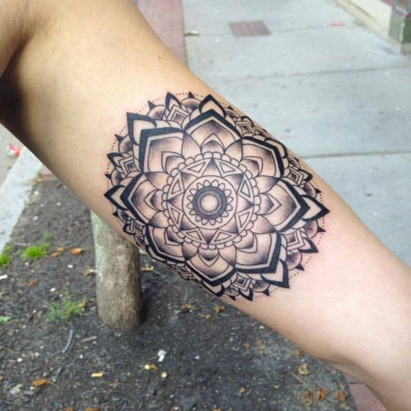 Mandala piece on forearm by Lauren T