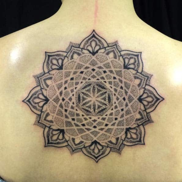 Large dotwork mandala flower on back by Helsinki