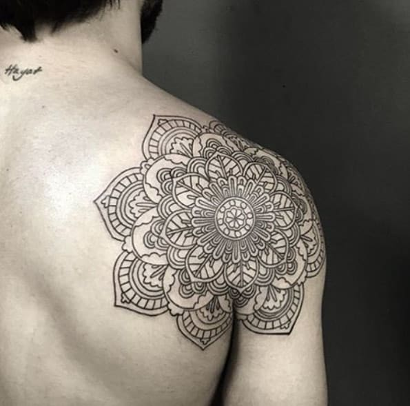 Back shoulder mandala tat by Resul Odabas