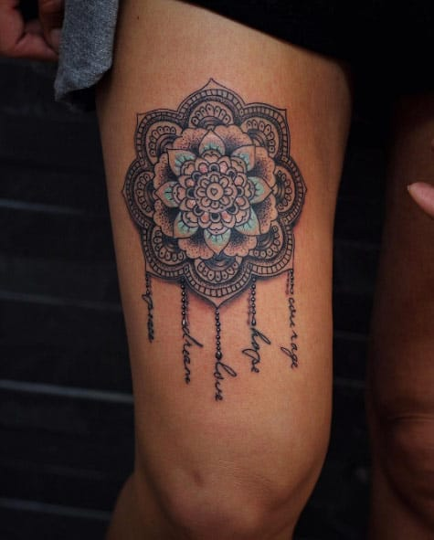 Mandala thigh piece by El Daniel Advarp