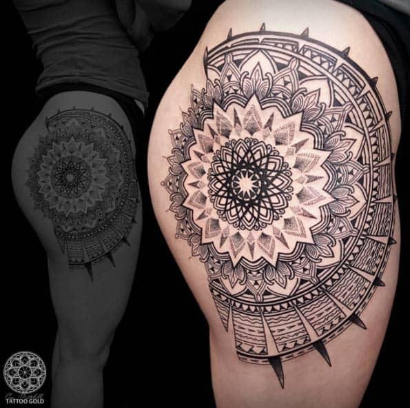 Huge mandala design on thigh by Coen Mitchell