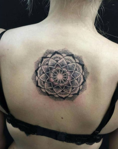 Mandala flower on back by Victims of Ink