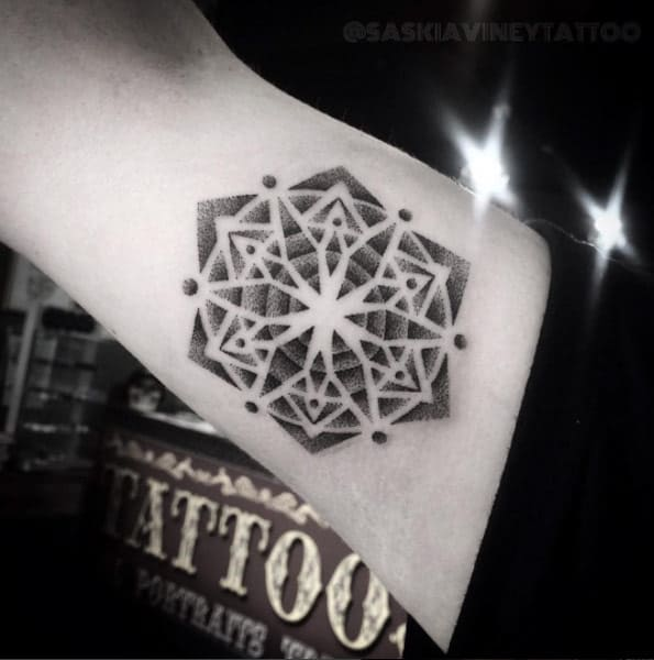 Geometric dotwork design by Saskia Viney