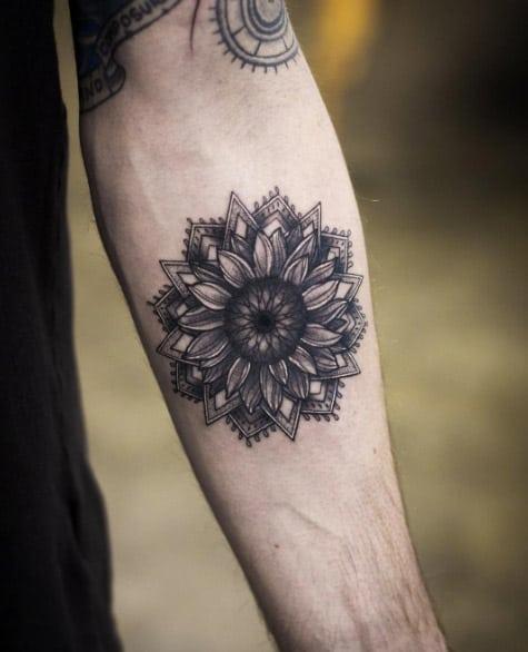 Mandala sunflower by Kristi Walls