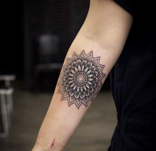 Detailed mandala flower by Kristi Walls