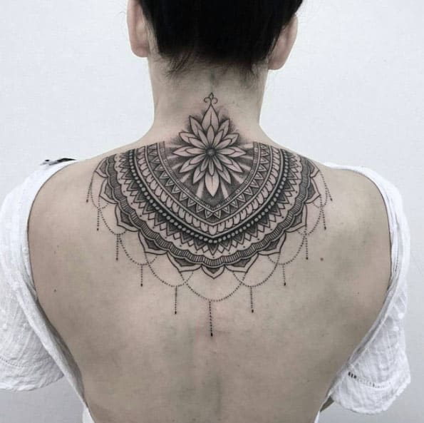 Back neck mandala work by Jai Cheong