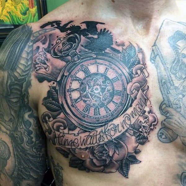 Marvellous Pocket Watch Tattoo With Label On Chest For Guys