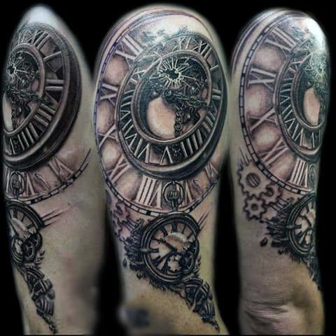 Medieval Grey Pocket Watch Tattoo On Shoulders Men