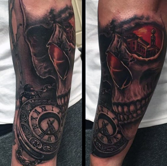 Mens Forearms Haunted Skull Pocket Watch Tattoo