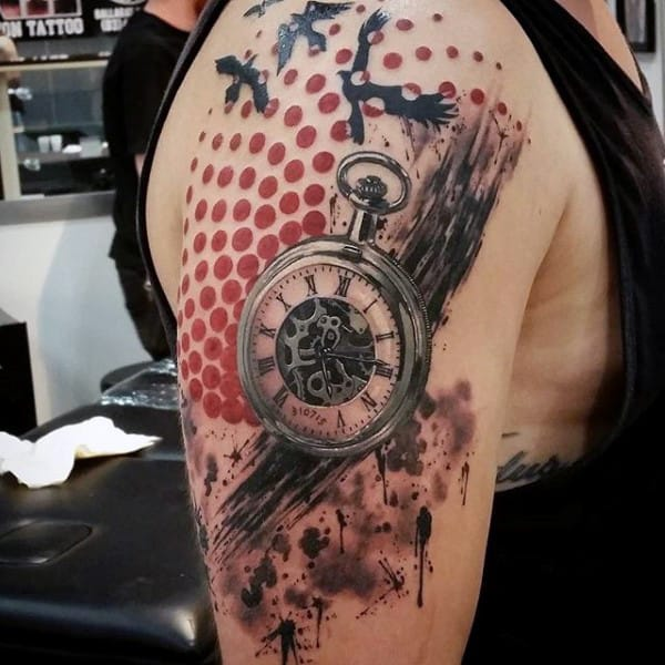 200 popular pocket watch tattoo and meanings april 2018 part 5. Black Bedroom Furniture Sets. Home Design Ideas