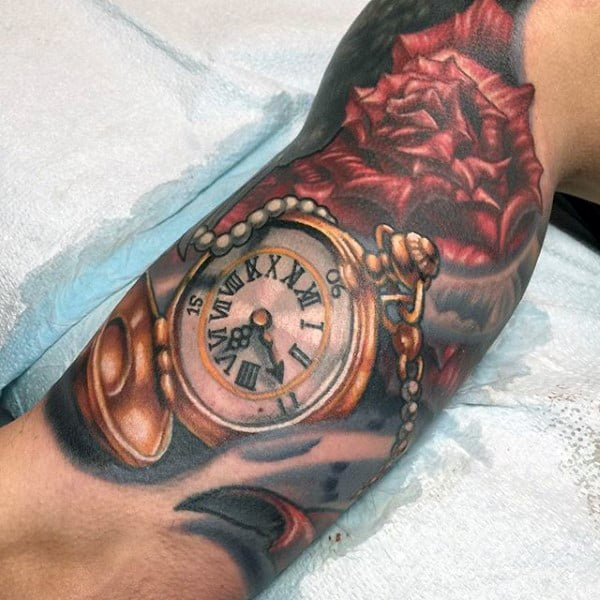 Mens Rose And Golden Pocket Watch Tattoo On Arms