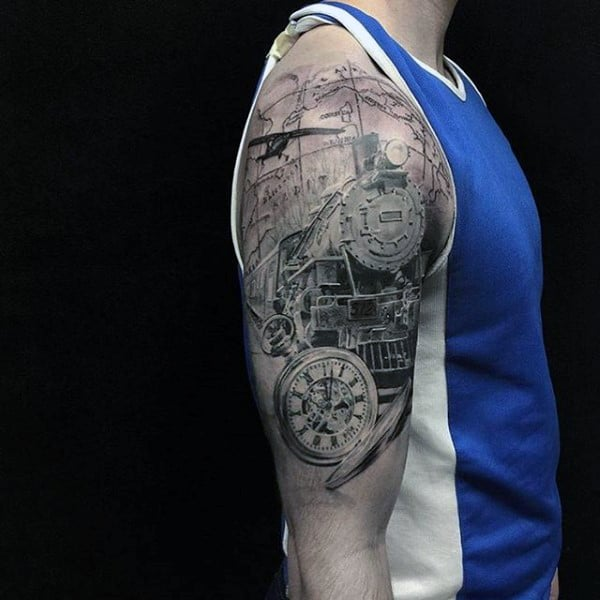 Mens Upper Arms Rail Engine And Pocket Watch Tattoo