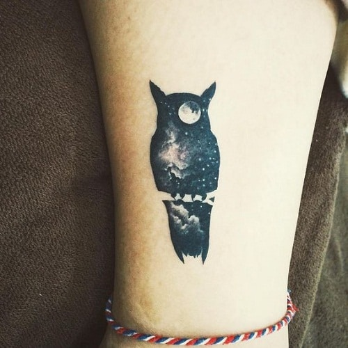 Midnight Sky Owl Tattoo