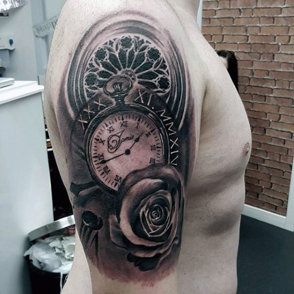 Tattoo Ideas Upper Arm Sleeve: 200 Popular Pocket Watch Tattoo And Meanings (April 2018