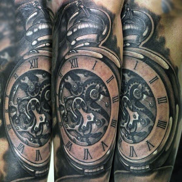 Mutiple Geared Pocket Watch Tattoo On Forearms Male