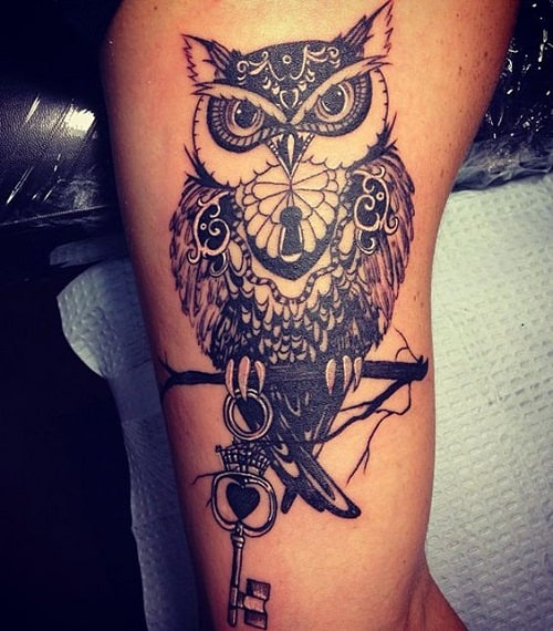 Mythological Owl Tattoo Holding a Key