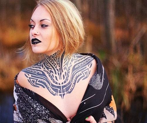 Neck Tribal Tattoos for Women