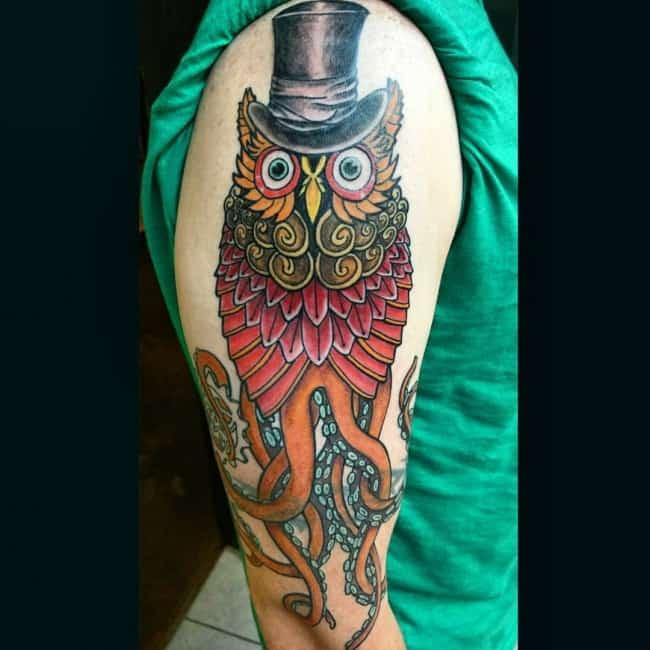 octopus owl tattoo