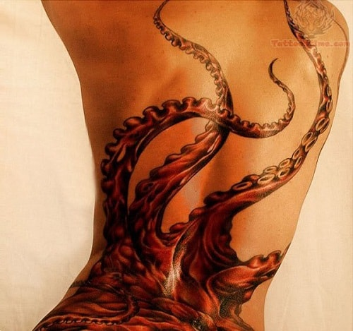 Octopus Tentacles on Back Tattoo