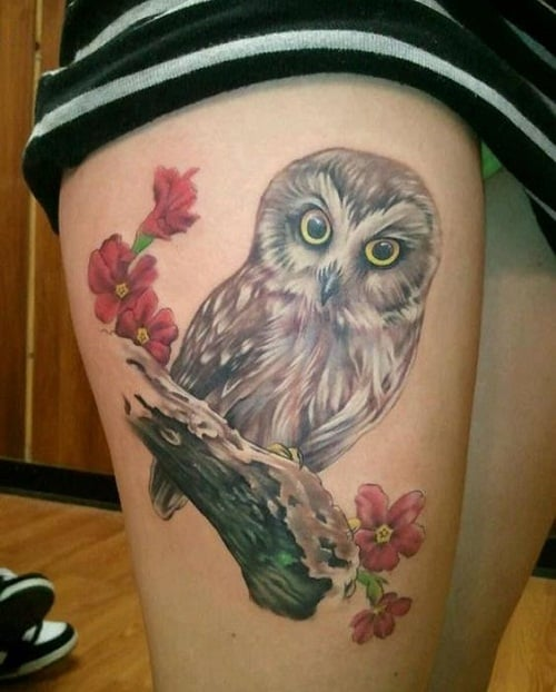 Owl on Branch with Flowers Tattoo