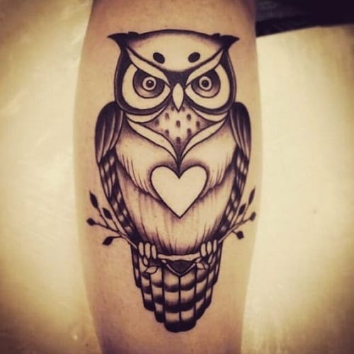 Owl with Heart Tattoo