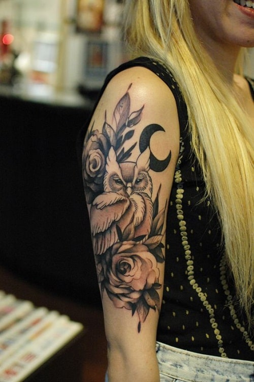 Owl with Black Moon and Rose Tattoo
