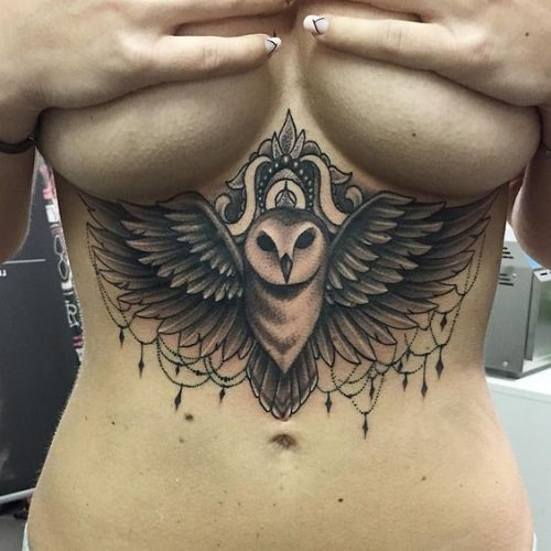 Owl with Gems Tattoo on Underbreast