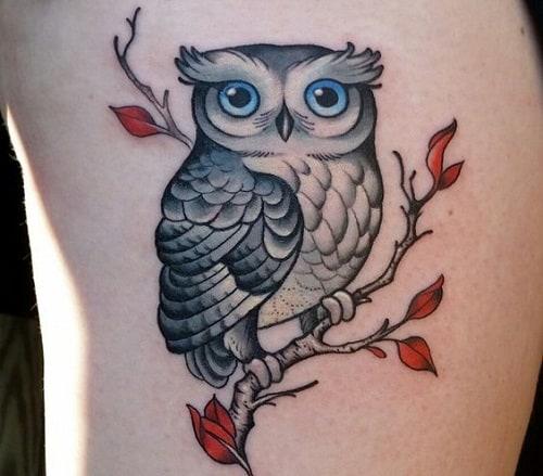 Owl with Orange Leaves Tattoo