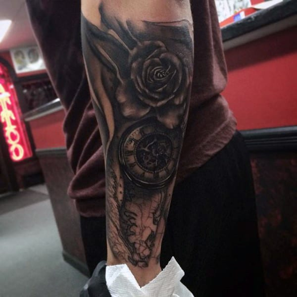 Pencil Art Rose And Pocket Watch Tattoo Forearms Men