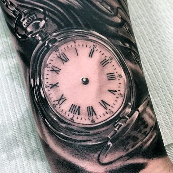Pocket Watch Grey Black Tattoo Forearms Men