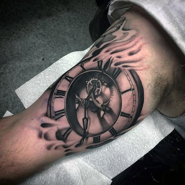 Pocket Watch On Flames Tattoo Forearms Guys