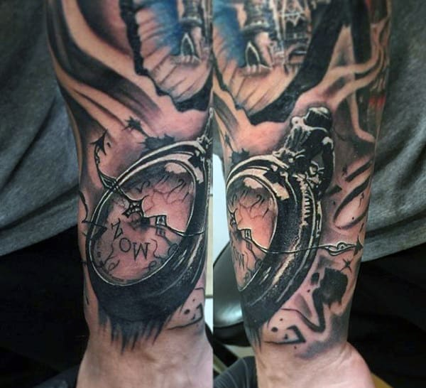 Pocket Watch Tattoo With Unique Pattern On Forearms Males