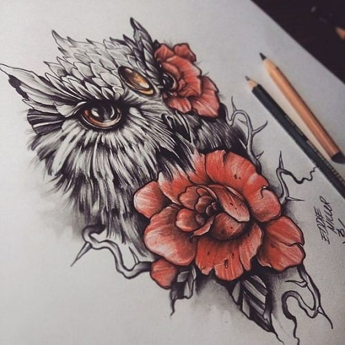 Realistic Owl Tattoo with Red Roses
