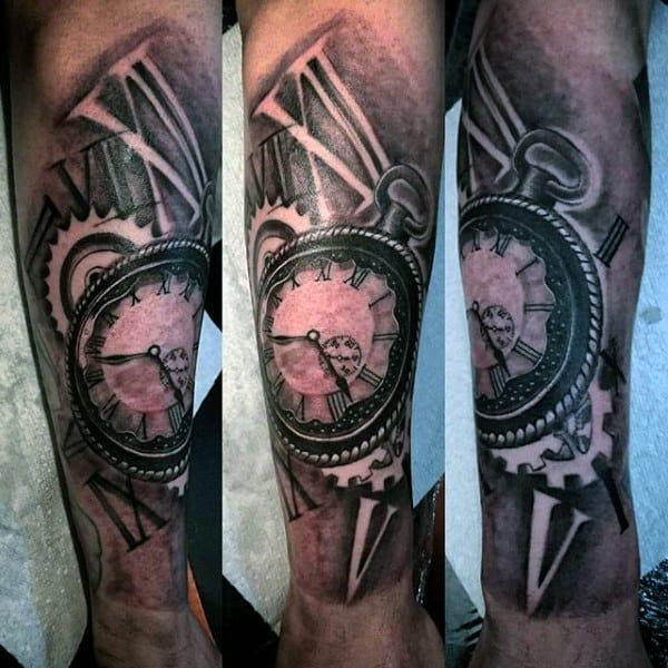 Retro Pocket Watch Tattoo Forearms Guys