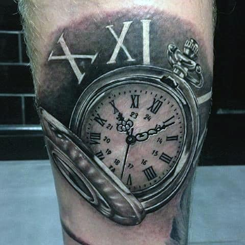 Roman Numeral Pocket Watch Tattoo On Legs Men